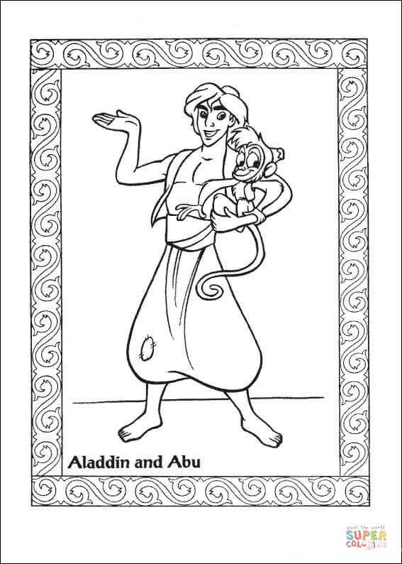 Aladdin And Abu Coloring Page | Cute coloring pages, Disney ... | 794x567