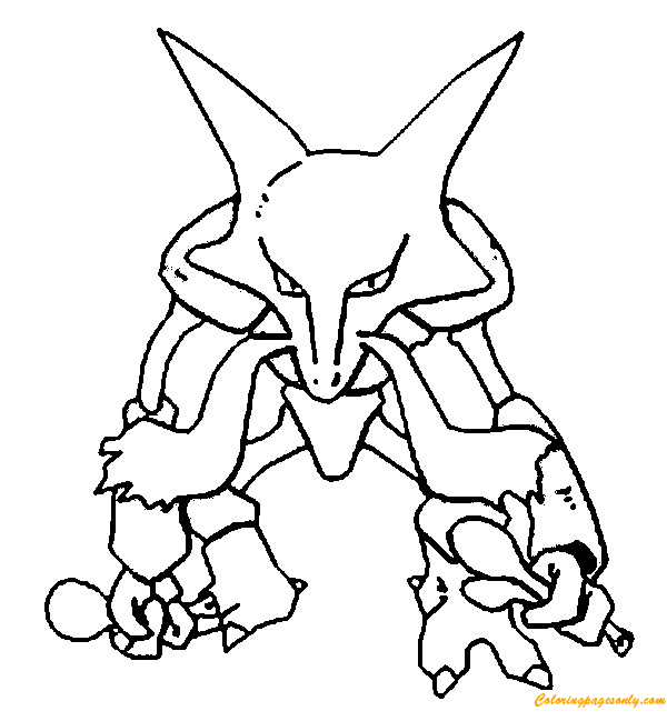 Alakazam Pokemon Coloring Page - Free Coloring Pages Online
