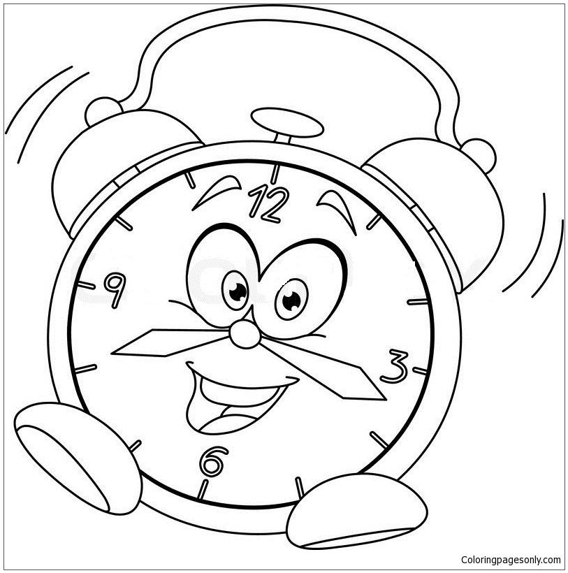Alarm Clock Cartoon Coloring Page
