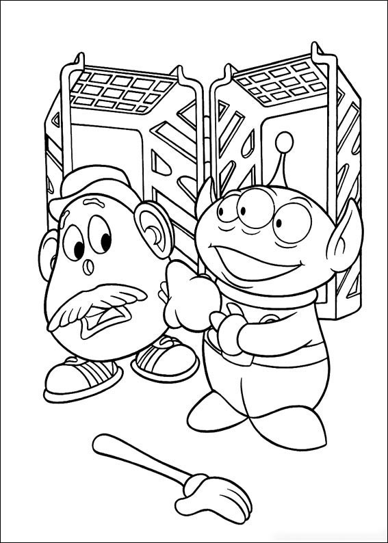 Alien and Mr.Potato Coloring Page