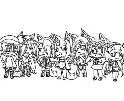 All Characters Girl in Gacha Life Games Coloring Page