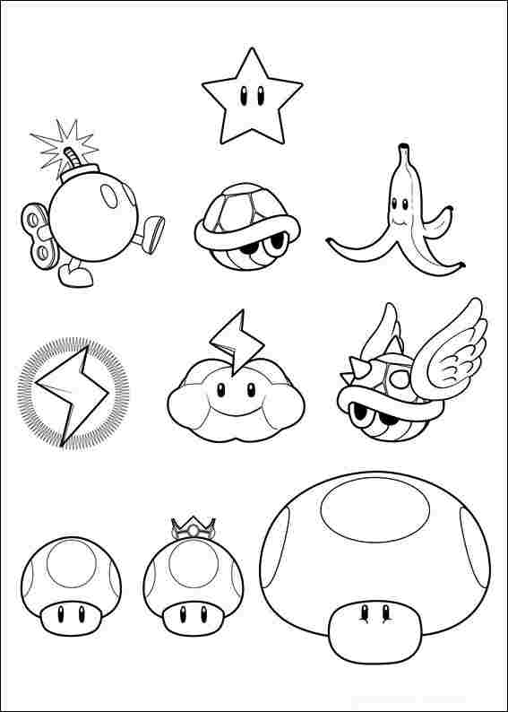 All defensive items from Mario Kart Coloring Page