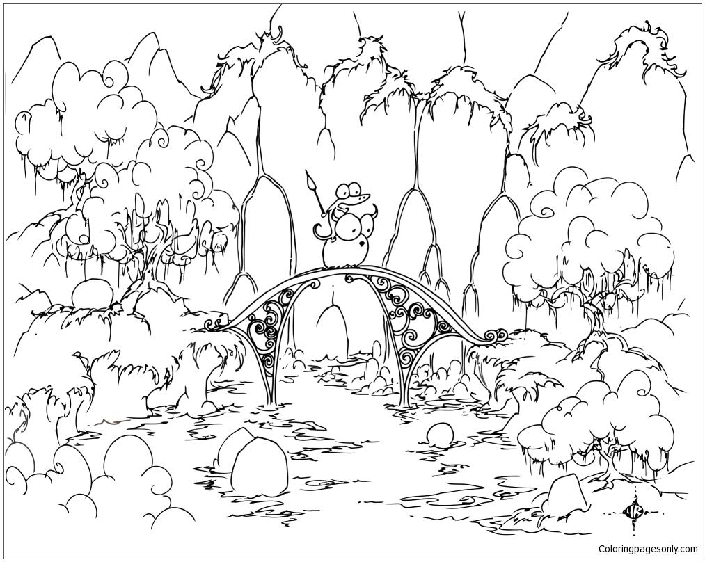 Alligator Riding A Bison Across A Bridge Coloring Page - Free ...