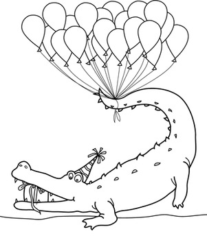 Alligator with balloon Happy Birthday Coloring Page