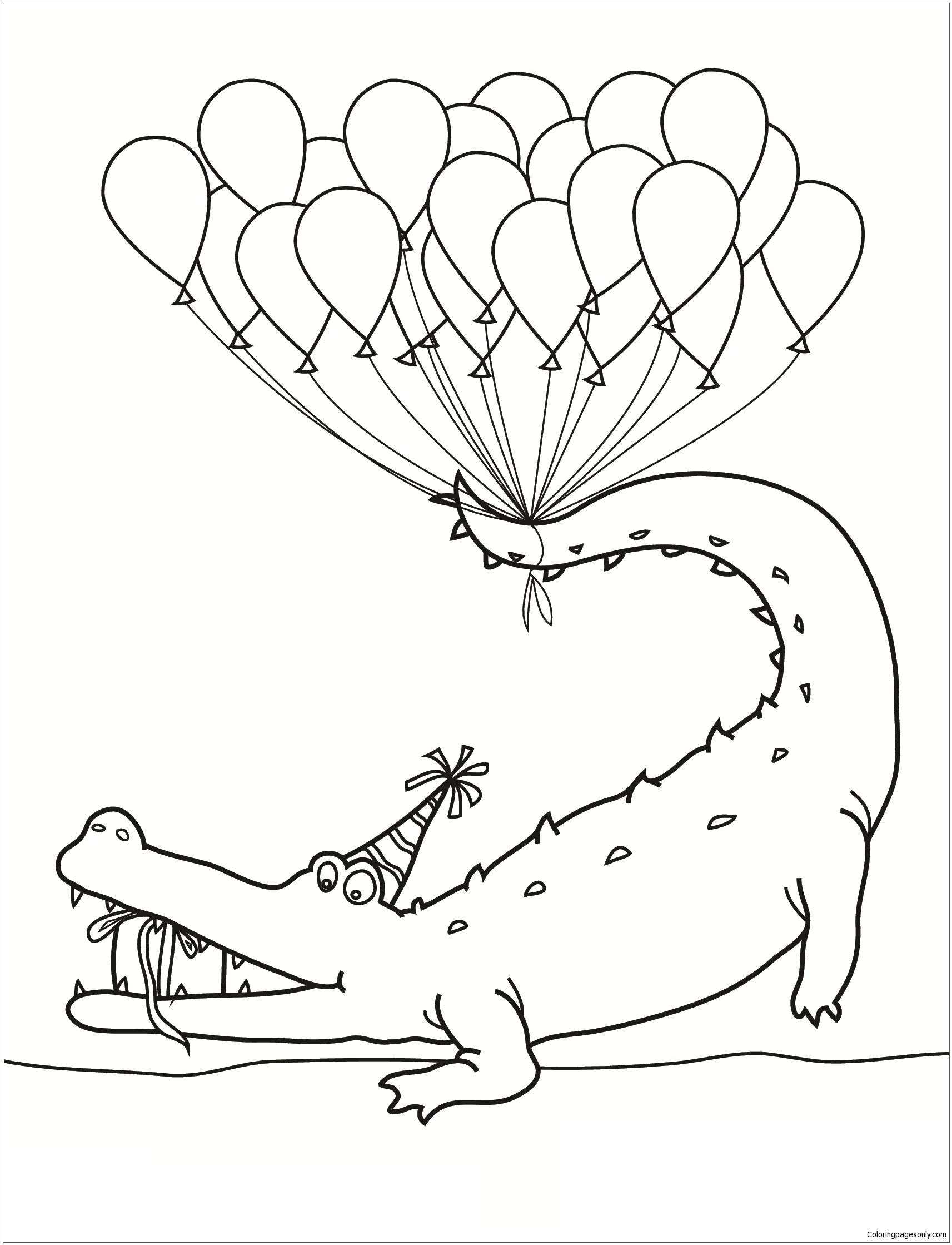 - Alligator With Balloon Happy Birthday Coloring Page - Free