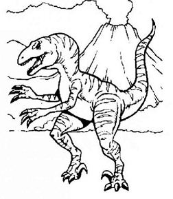 Allosaurus And Volcano Coloring Page
