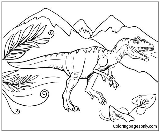 Allosaurus Dinosaur 2 Coloring Page