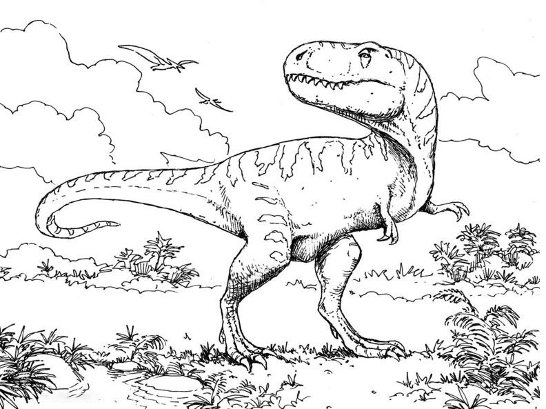 Allosaurus in primary forest Coloring Page