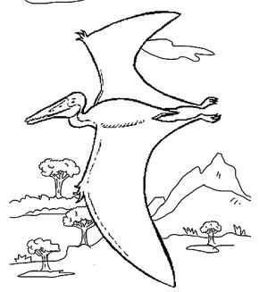 Allosaurus is flying Coloring Page