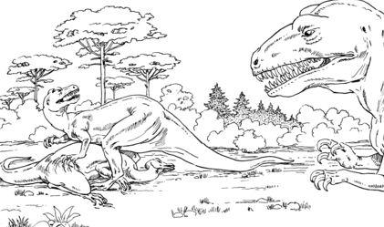 Allosaurus Over Dead Camptosaurus Coloring Page