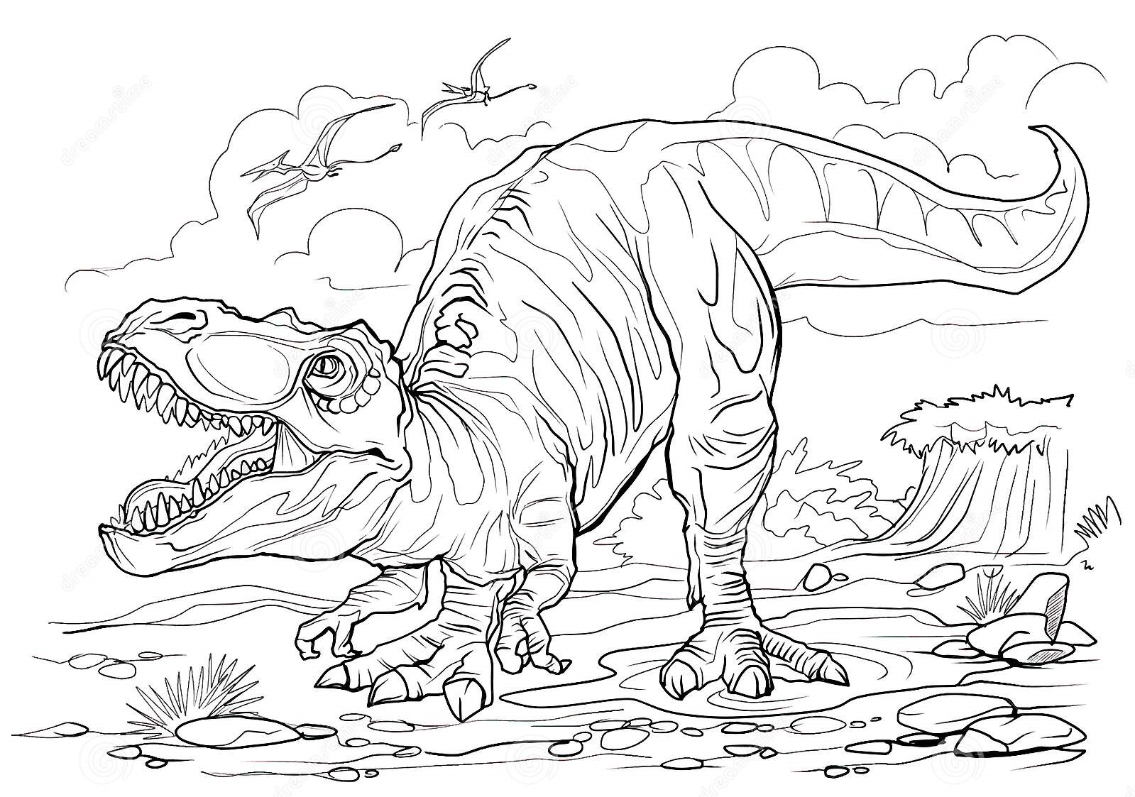 Allosaurus zoom in Coloring Page