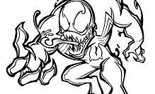 Chibi Black Spiderman Venom Coloring Page