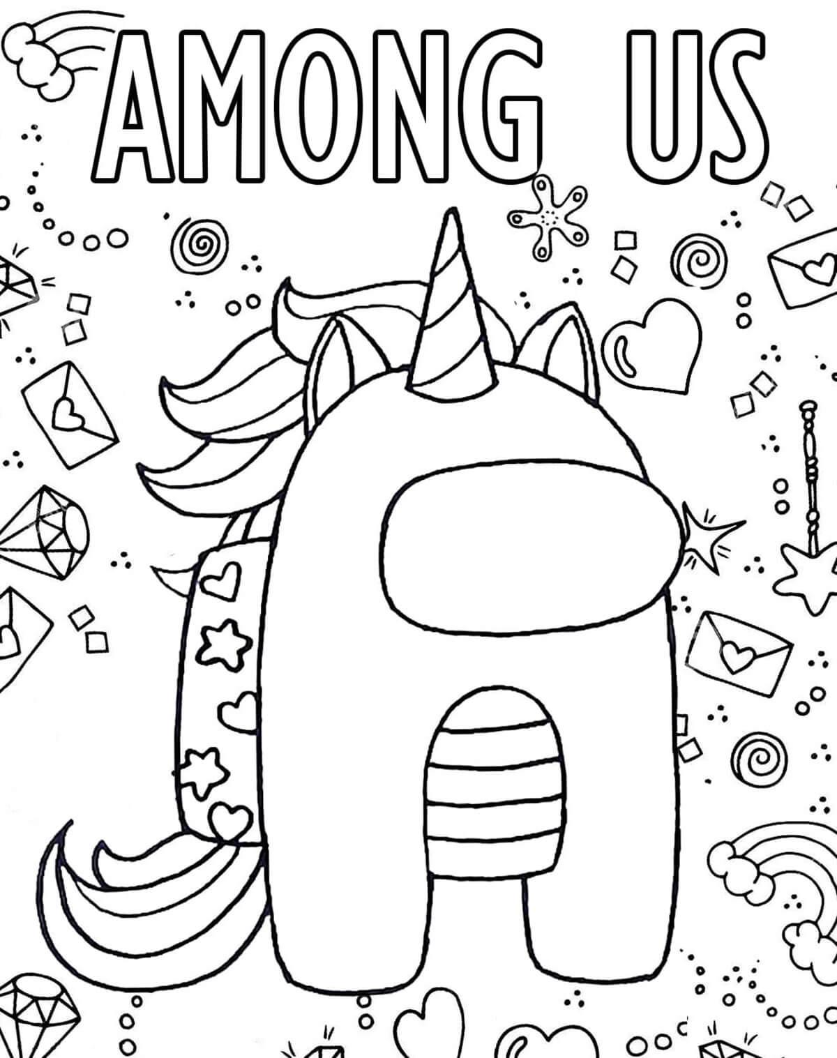 Among us ver. unicorn Coloring Page