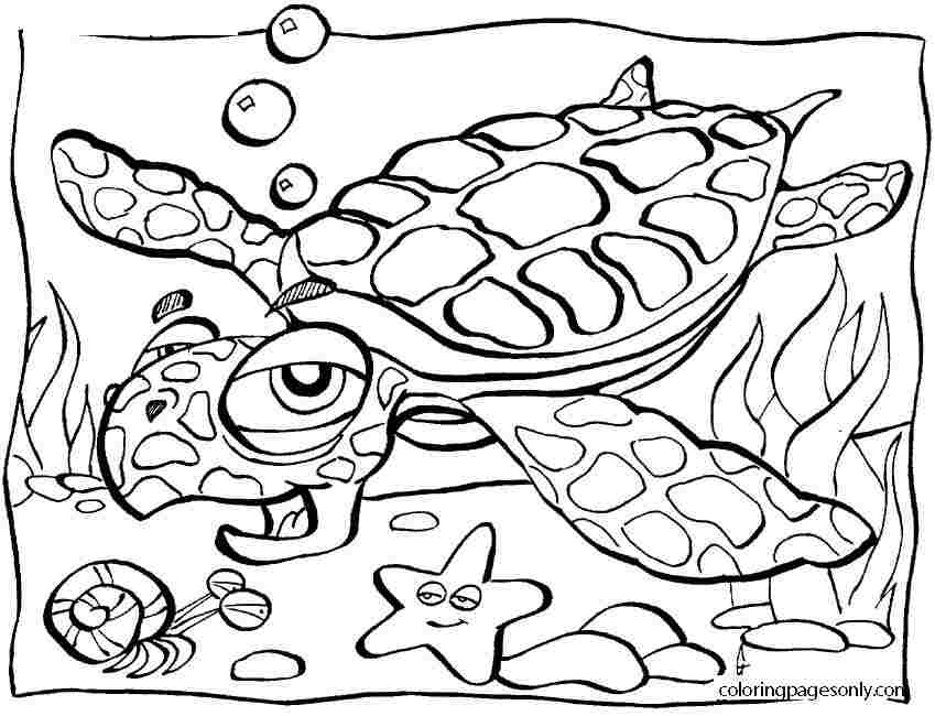 An old turtle breathes under the water Coloring Page