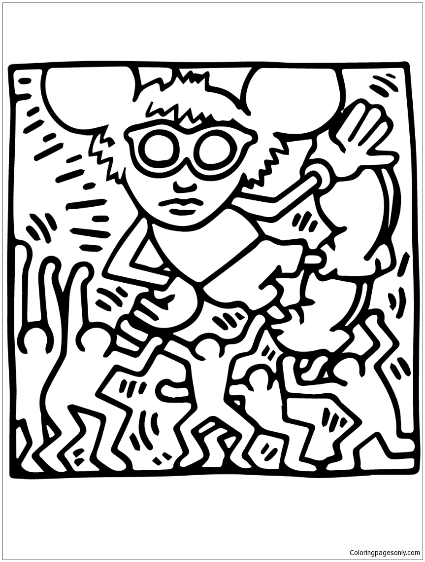 Andy Mouse By Keith Haring  Coloring Page