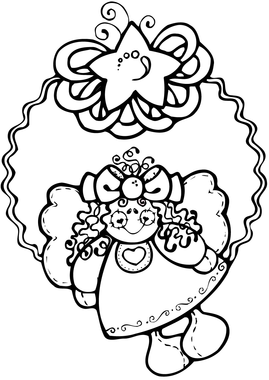 Angel Christmas Wreath Coloring Page