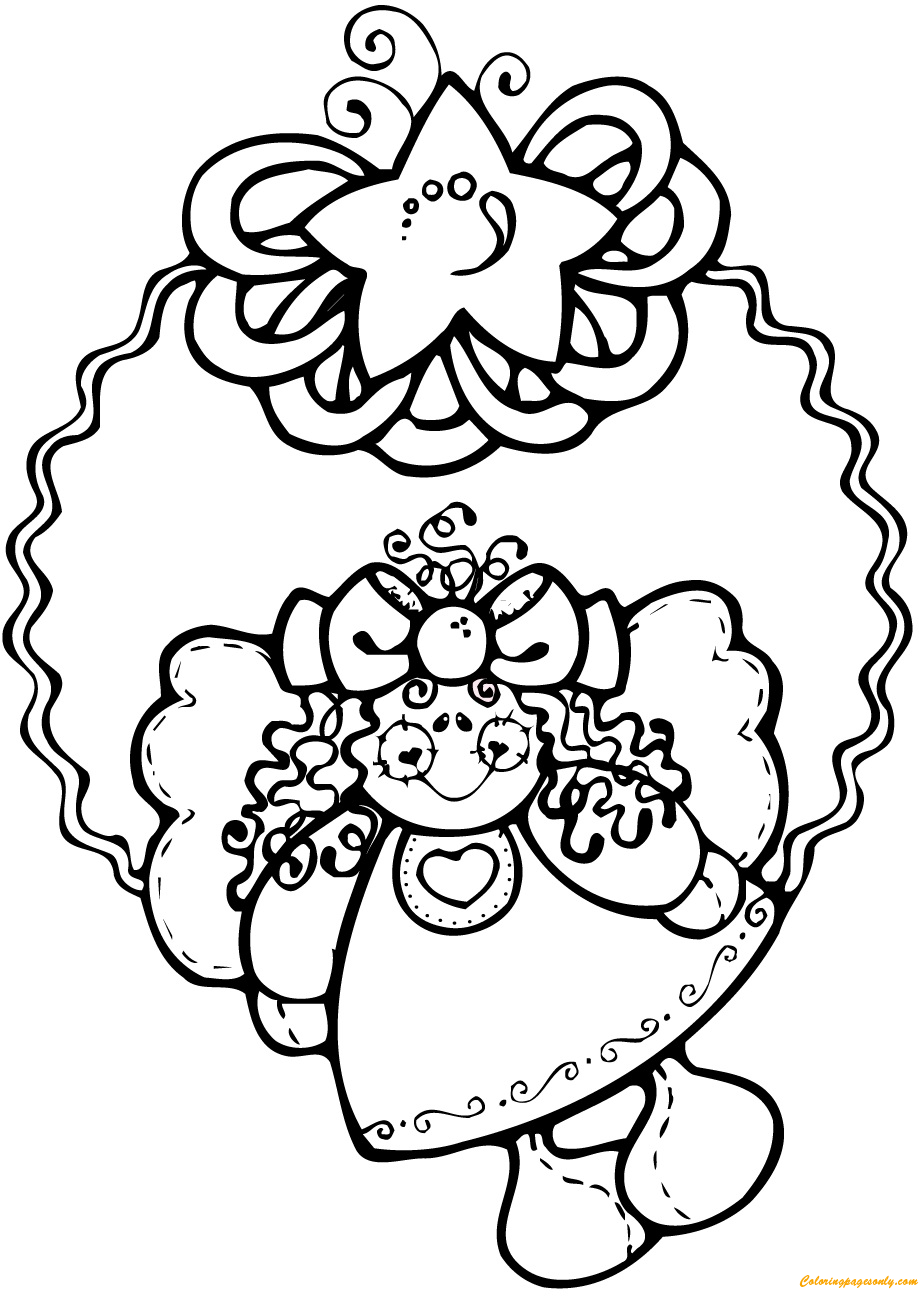 angel christmas wreath coloring pages - holidays coloring