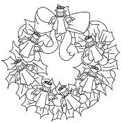 Angel Figurines Wreath Coloring Page