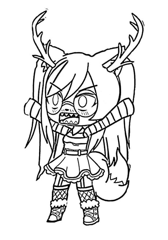 Angry Reindeer girl is wearing glasses Coloring Page