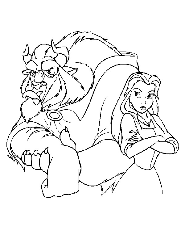 Angry the Beast and Belle Coloring Page