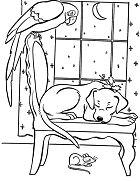 Animal On Christmas Night Christmas Coloring Page
