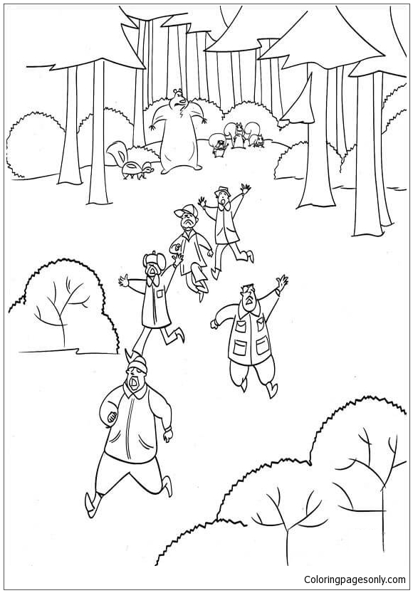 Animals Have Chased Away Hunters Coloring Page