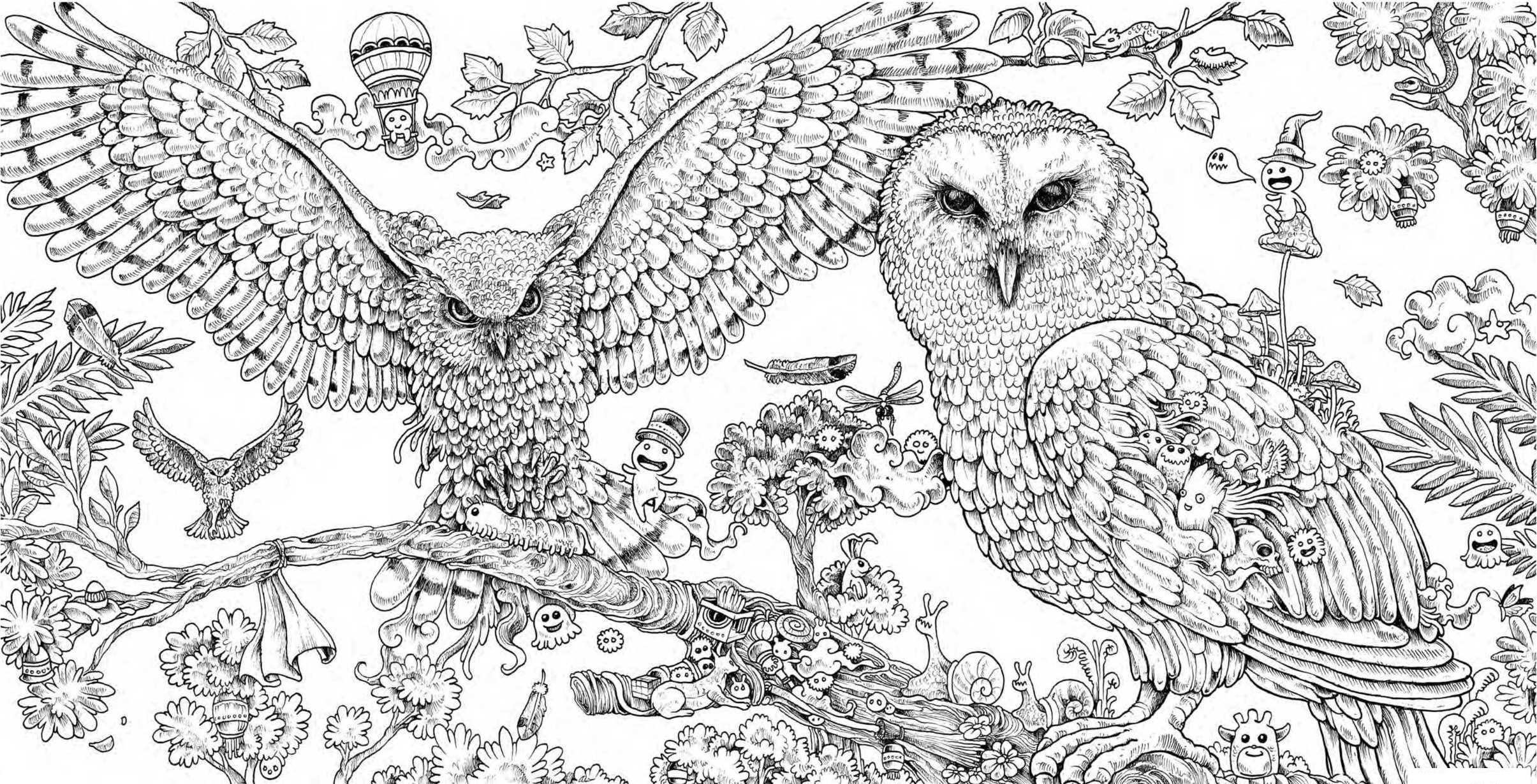 Animorphia Owls Hard Coloring Page