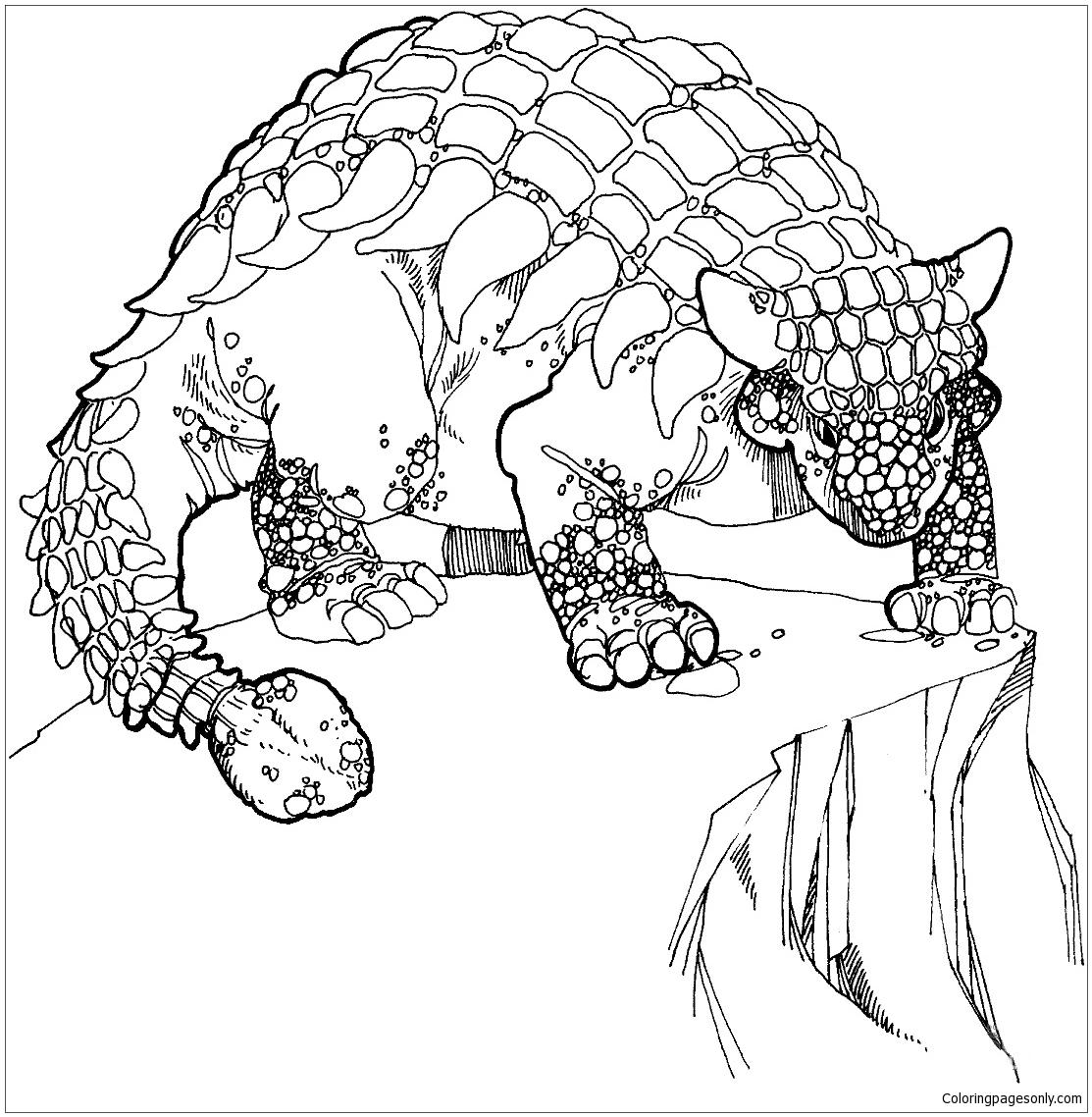 Ankylosaurus Cretaceous Period Dino Coloring Page