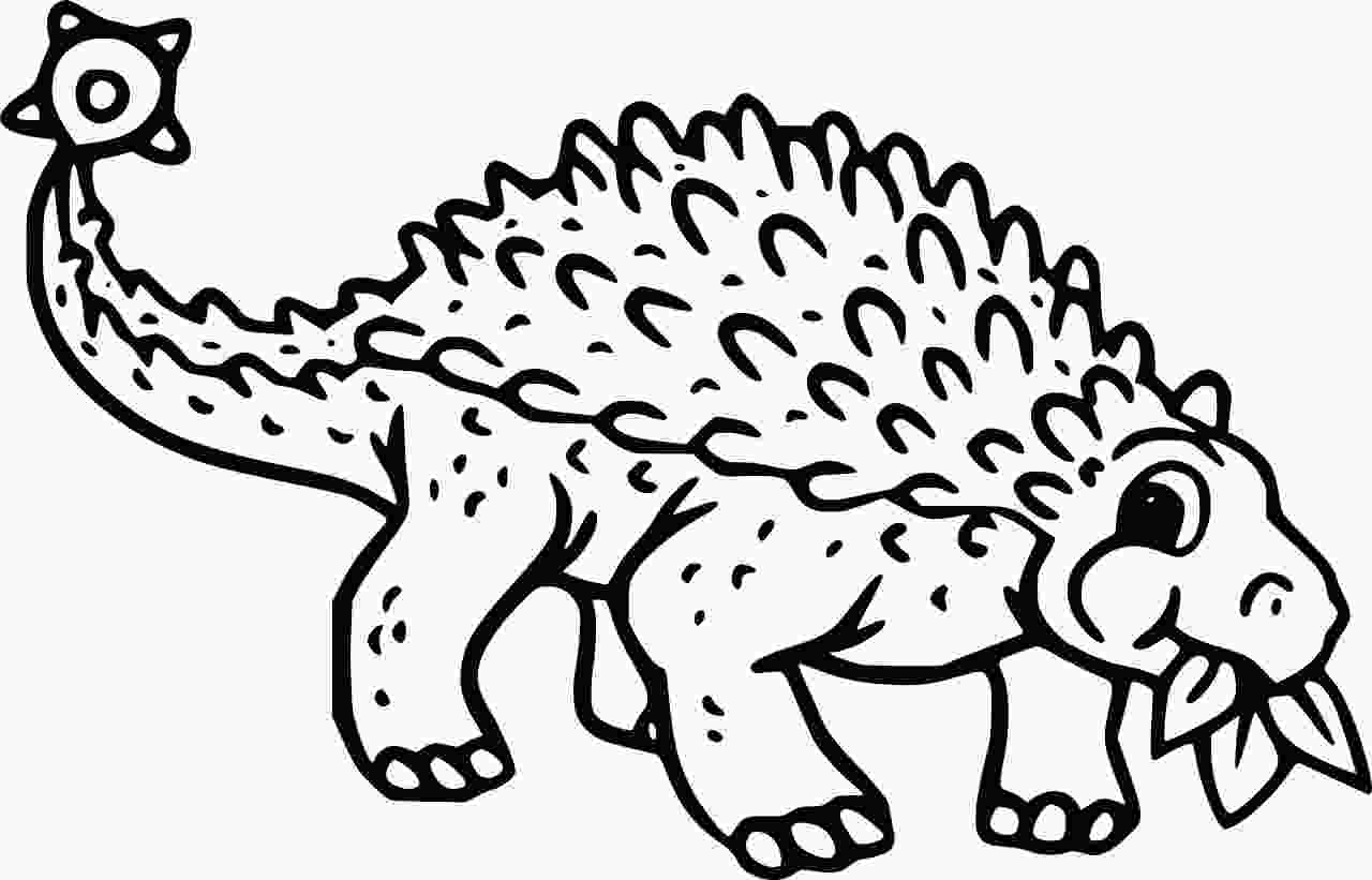 Ankylosaurus is eating grass Coloring Page