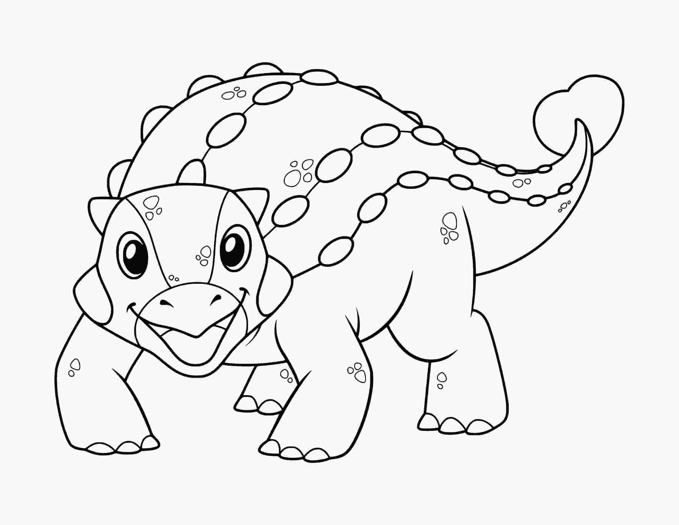 Ankylosaurus Lovely Dinosaur cartoon Coloring Page