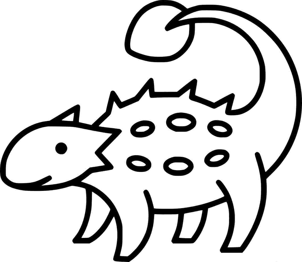 Ankylosaurus Outline Coloring Page