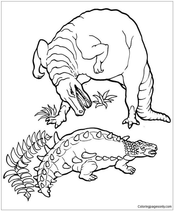 Ankylosaurus Vs. Tyrannosaurus From Dinosaur Coloring Page