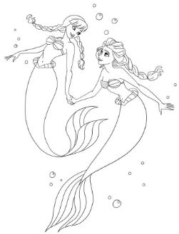 Anna And Elsa As Ariel Coloring Page