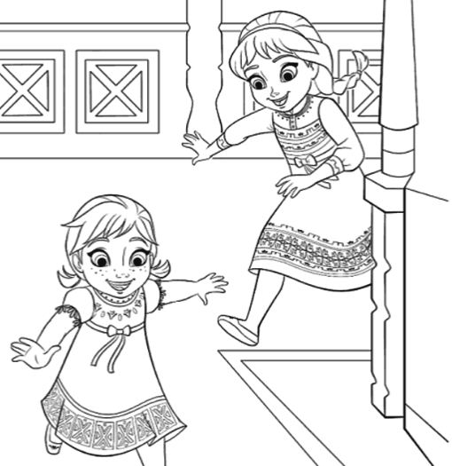 Anna And Elsa Playing Together Coloring Page