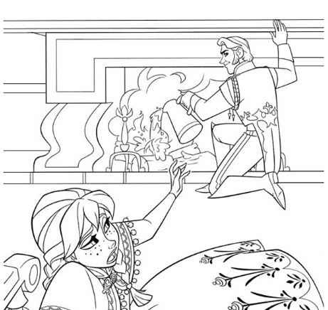 Anna And Hans Having A Disagreement Coloring Page