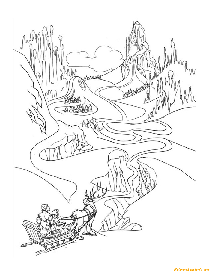 Anna And Kristoff On The Way To Elsas Palace Coloring Page