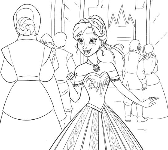Anna Excited With The Ceremony Coloring Page
