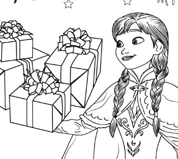 Anna And Gifts Coloring Page