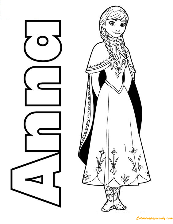 Frozen Free Coloring Pages Momjunction : Anna frozen coloring page free pages online