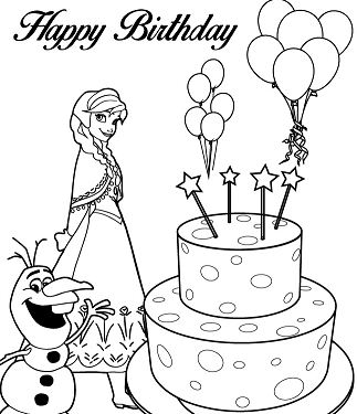 Anna, Olaf And Happy Birthday Cake Coloring Page