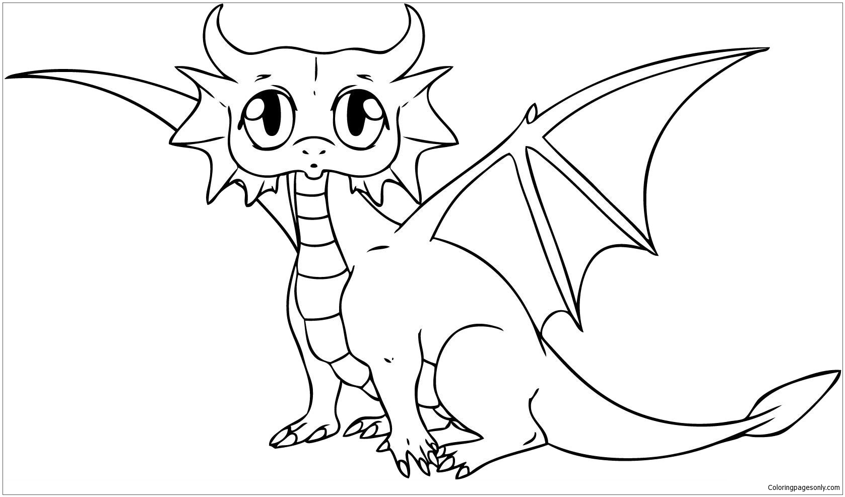 Cute Baby Dragon Coloring Page - Free Coloring Pages Online