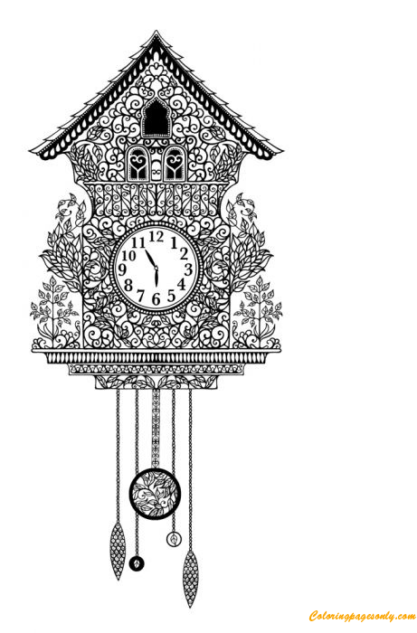 Antique Cuckoo Clock Coloring Page - Free Coloring Pages Online