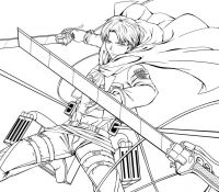 Levi in a raincoat Coloring Page