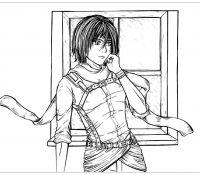 Mikasa Ackerman From AOT Coloring Page