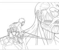 Eren vs the monster Coloring Page