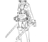 Mikasa with swords Coloring Page