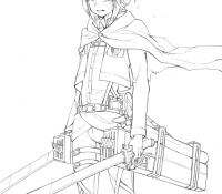 Mikasa Ackermann from Attack on Titan Coloring Page