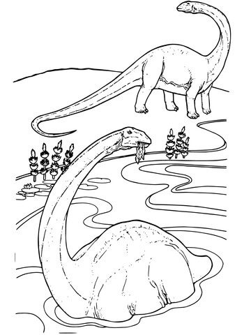 Apatosaur Dinosaur is in the river Coloring Page