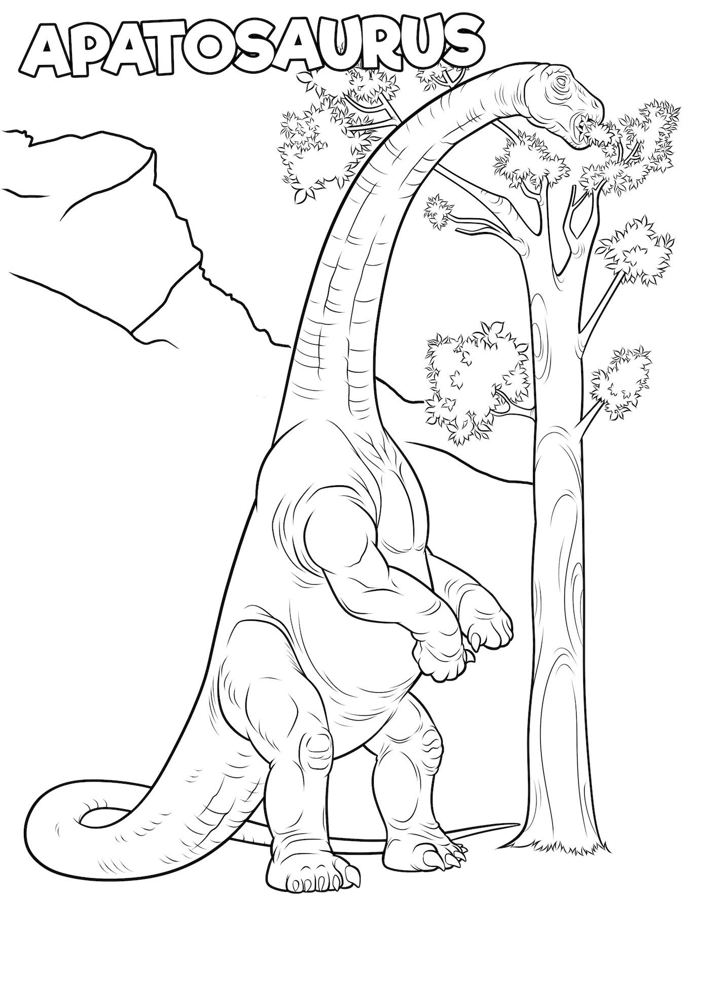 Apatosaur is taller than trees Coloring Page