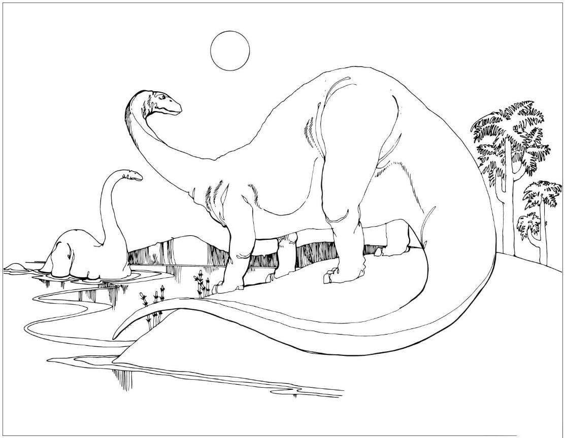 Apatosaurus at the river Coloring Page